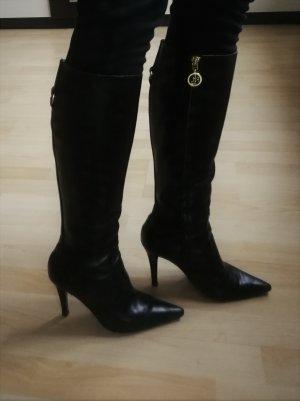 Schwarze Lederstiefel von Ralph Lauren