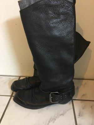 Schwarze Lederstiefel von Replay