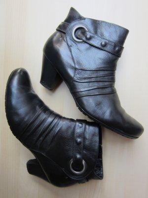 Schwarze Lederstiefeletten mit Nieten und Raffung - Größe 41