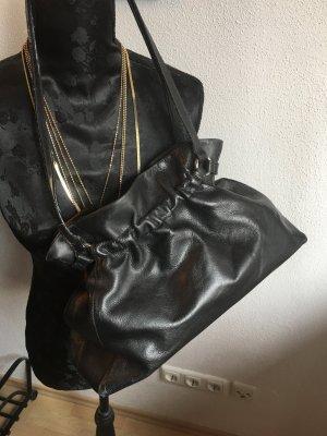Handbag black-silver-colored