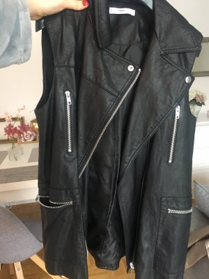 Mango Leather Vest black