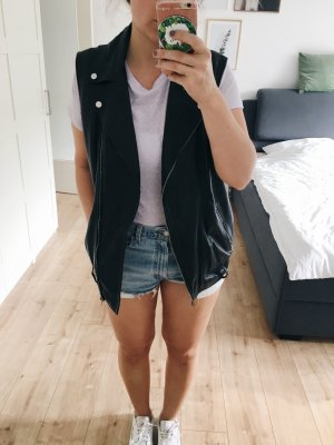 Zara Trafaluc Leren vest zwart Polyester