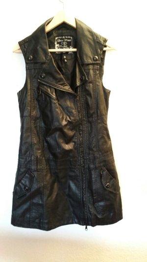 Schwarze Lederweste von Soccx in Größe 36 aus echtem Leder