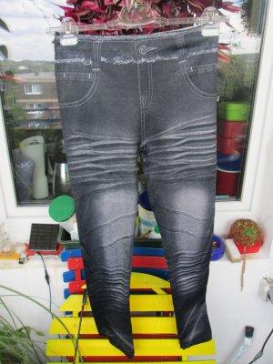 schwarze Leggings im Jeans-Look