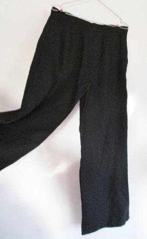 Schwarze Leinenhose Marlene Kontrast Größe 40 42 High Waist Schwarz Leinen Hose Schlicht