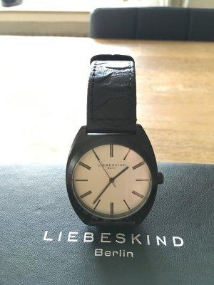 Liebeskind Berlin Orologio con cinturino di pelle nero-bianco