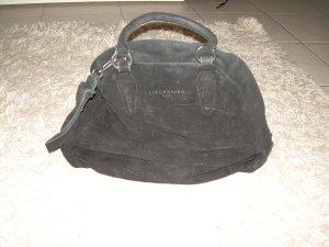 schwarze Liebeskind Wildleder-Tasche Ninja Black Big Scale Alligator Handtasche