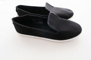 schwarze Loafer Slipper Stoffschuhe Slip-ons NEU