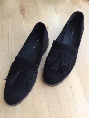 Schwarze Loafers mit Fransen