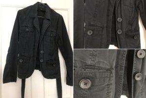Schwarze Lockere Jacke mit Gürtel von H&M