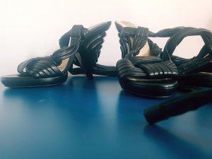 schwarze Loewe Schnürsandalen echtleder