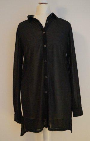schwarze Longbluse Bluse leicht transparent