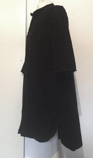 Schwarze Longbluse bzw Kleid aus Cord / Kord