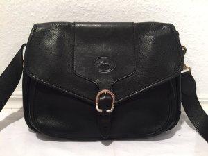 Schwarze Longchamp Umhängetasche aus Leder
