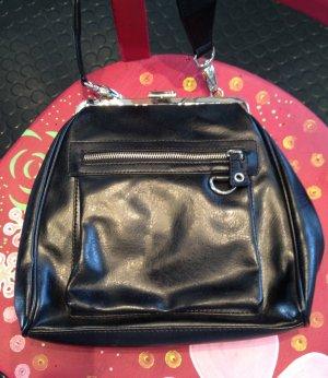 schwarze Mango Handtasche im Vintage-Look