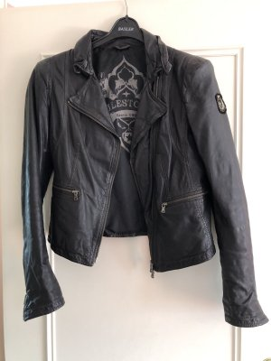 Schwarze Milestone Lederjacke