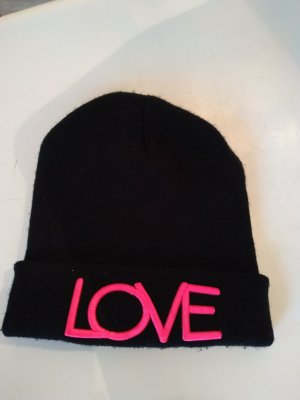 schwarze Mütze mit pinkem Logo, Love
