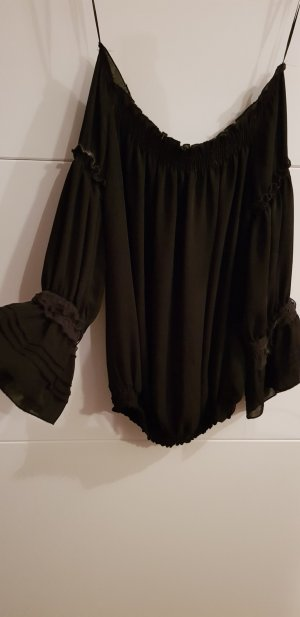 schwarze off-shoulder Bluse