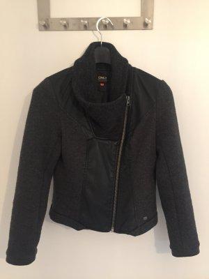 "schwarze Only Jacke ""Ricki Biker Jacket"" Gr. 38 - Kunstleder/Wolle"