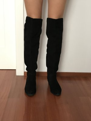 Schwarze Overknees-Stiefel mit Fransen