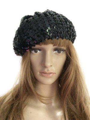 Schwarze Pailletten-Mütze