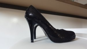 Schwarze Pailletten Pumps