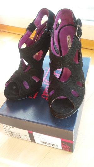 Schwarze Peeptoe High Heel Sandaletten von Buffalo, Größe 41, NEUWERTIG