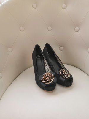 Anna Field Peep Toe Pumps black-gold-colored