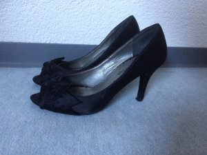 schwarze Peeptoes / Pumps von Queentina - Gr. 38