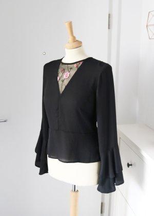 Schwarze Peplum Bluse mit Trompetenärmeln mit Blumenmuster 38 New Look Asos