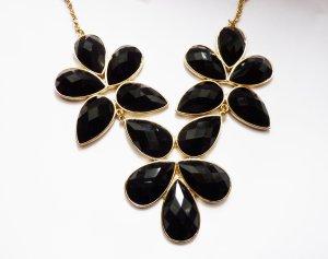 schwarze Perlen Kette, Statement Kette golden, Perlenschmuck