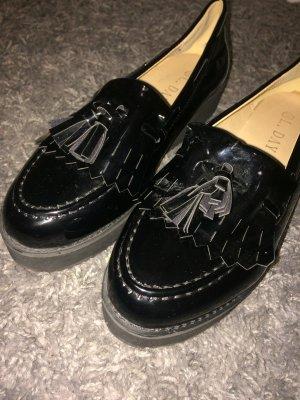 Schwarze Plateau Loafers