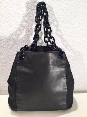 Schwarze PRADA Handtasche Leder und Textil