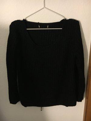 Schwarze Pullover mit rücken Reißverschluss
