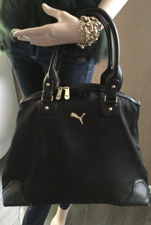 Schwarze Puma Handtasche, goldene Logo Hardware