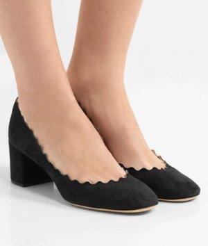 Schwarze Pumps aus Veloursleder mit Wellenkante von Chloé Chloe Schuhe aus Wildleder 39,5