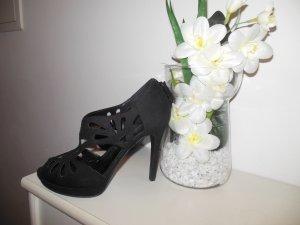 schwarze Pumps, Gr. 37, 1x getragen, schönes Muster