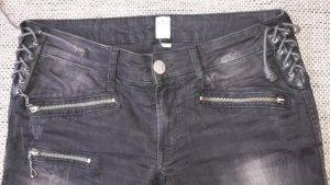 Schwarze Replay Jeans im Bikerstil (30, Skinny)