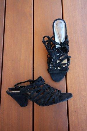 Sandalias de tacón de tiras negro Gamuza