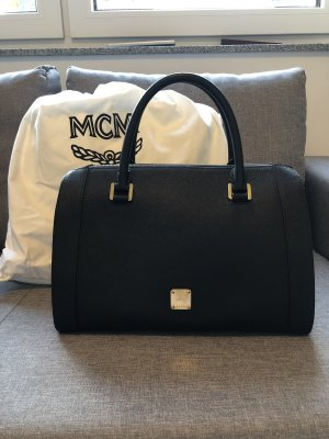 MCM Bolso barrel negro-color oro Cuero