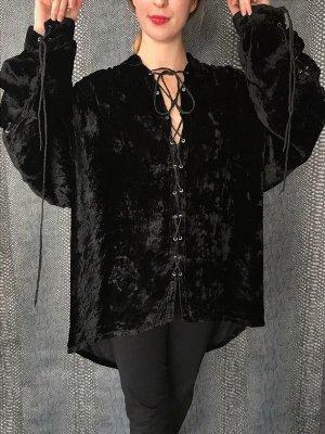 schwarze Samt Bluse mit Schnürung