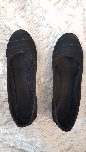 Schwarze Samt-Keilpumps in 37 mit 3,5 cm Absatz