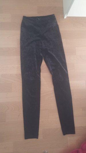 Schwarze Samt-Leggings