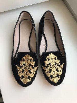 Schwarze Samt Slipper von Zara