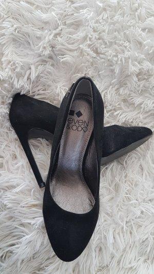 Schwarze Samt-Stilettos mit silbernem Stern, 11 cm, 37