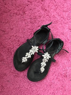 Sandalias con talón descubierto negro-color plata