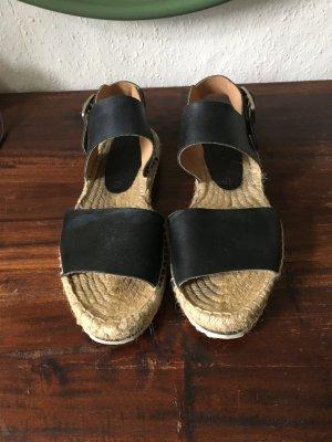Schwarze Sandalen Korksohle Leder  espadrilles Schuhe Leder 40