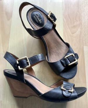 Clarks Wedge Sandals black-light brown leather
