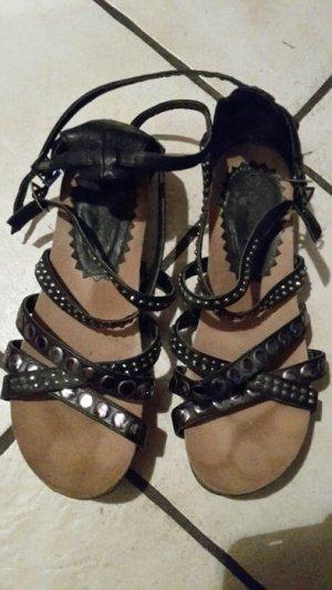 Roman Sandals black imitation leather