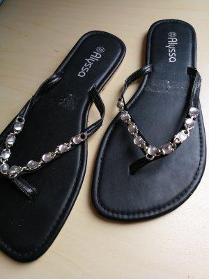 Schwarze Sandalen mit Strass - Neu
